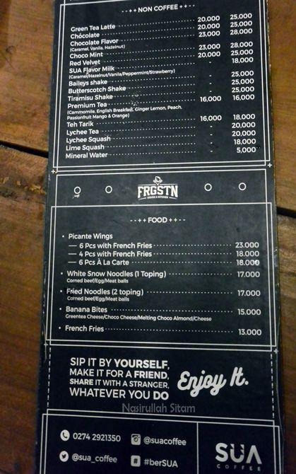 Daftar harga dan menu di Sua Coffee