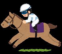 馬に乗るジョッキーのイラスト(白)