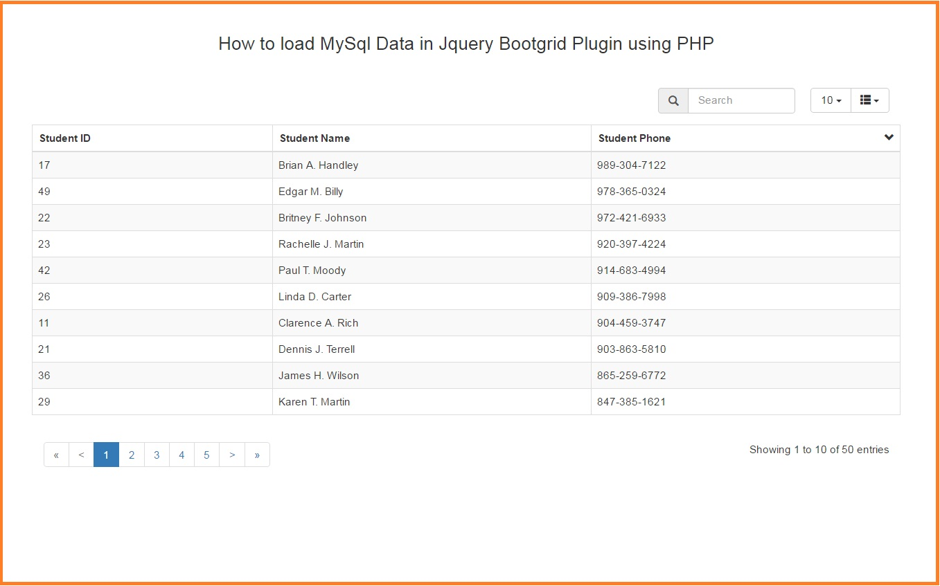 How To Load Mysql Data In Jquery Bootgrid Plugin Using Php