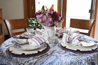 Purple and Blues Springtime Tablescape