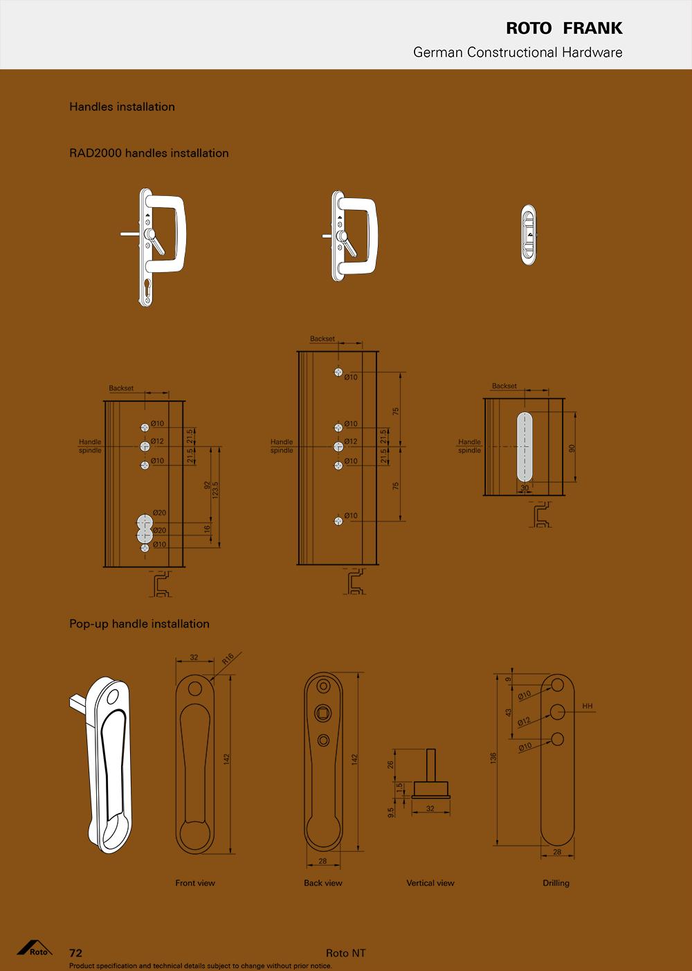 Các loại tay nắm dành riêng cho cửa trươt hãng Roto