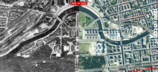 Maps Mania  Berlin   Now and Then Der Tagesspiegel has created an interactive map which allows you to compare  how Berlin looks today with how it looked back in 1928  The map uses aerial