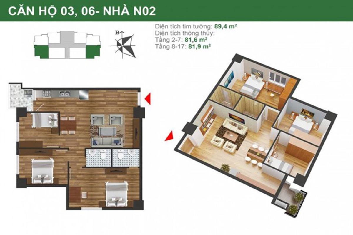 Mặt bằng căn hộ N02