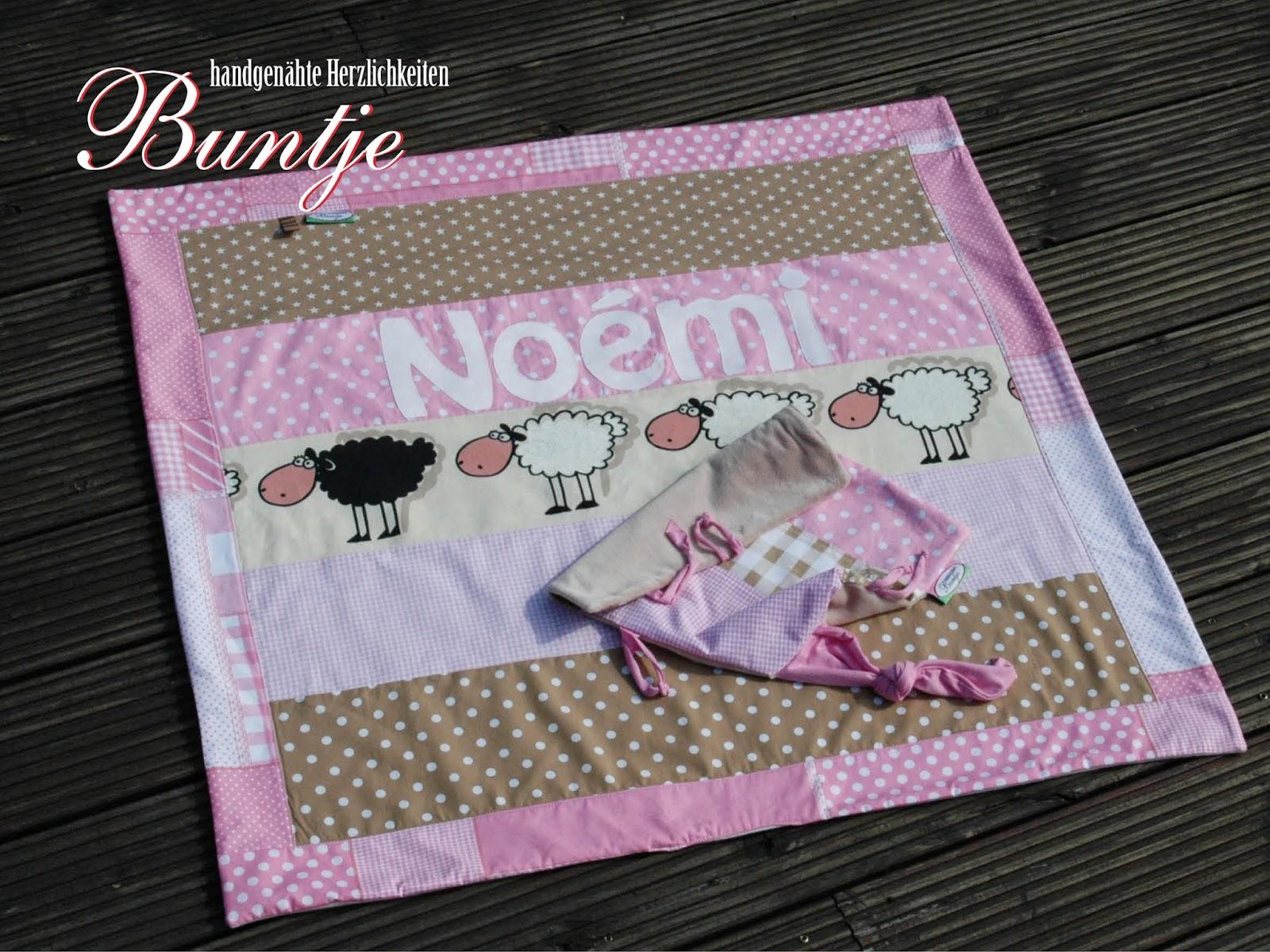Kuscheldecke Decke Puckdecke Baby Mädchen Name Geschenk Geburt Taufe rosa beige Noémi Baumwolle Fleece kuschelig nähen Buntje