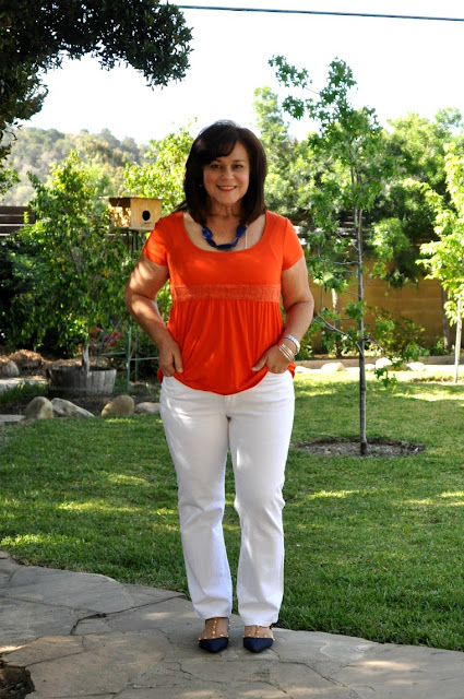 orange, navy and white - fashion