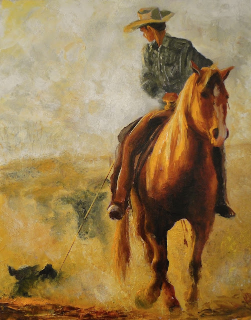 oil painting of cowboy lassoing a calf, pet portrait by Karen