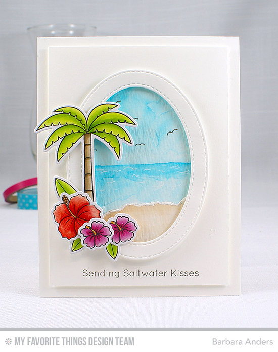 Handmade card from Barbara Anders  featuring Birdie Brown Polynesian Paradise and Penguins in Paradise stamp sets and Die-namics, and Stitched Oval Frames Die-namics #mftstamps