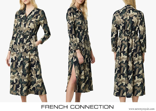 Countess of Wessex wore French Connection Camo Midi Shirt Dress Khaki