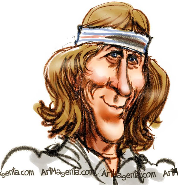Björn Borg caricature cartoon. Portrait drawing by caricaturist Artmagenta
