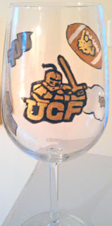 hand painted University of Central Florida sports glasses