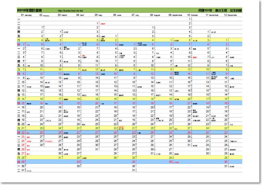 bod-idv-tw小書製作: 2012年計畫表(民國101年度計劃表)(A4尺寸)