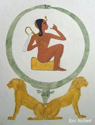 lions, symbolisme, gardien, Horus, paire,
