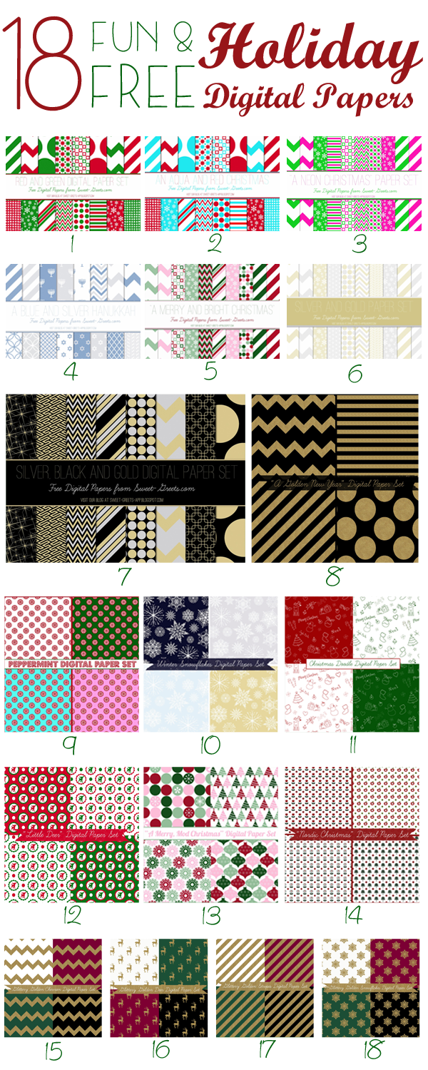 free holiday digital paper sets