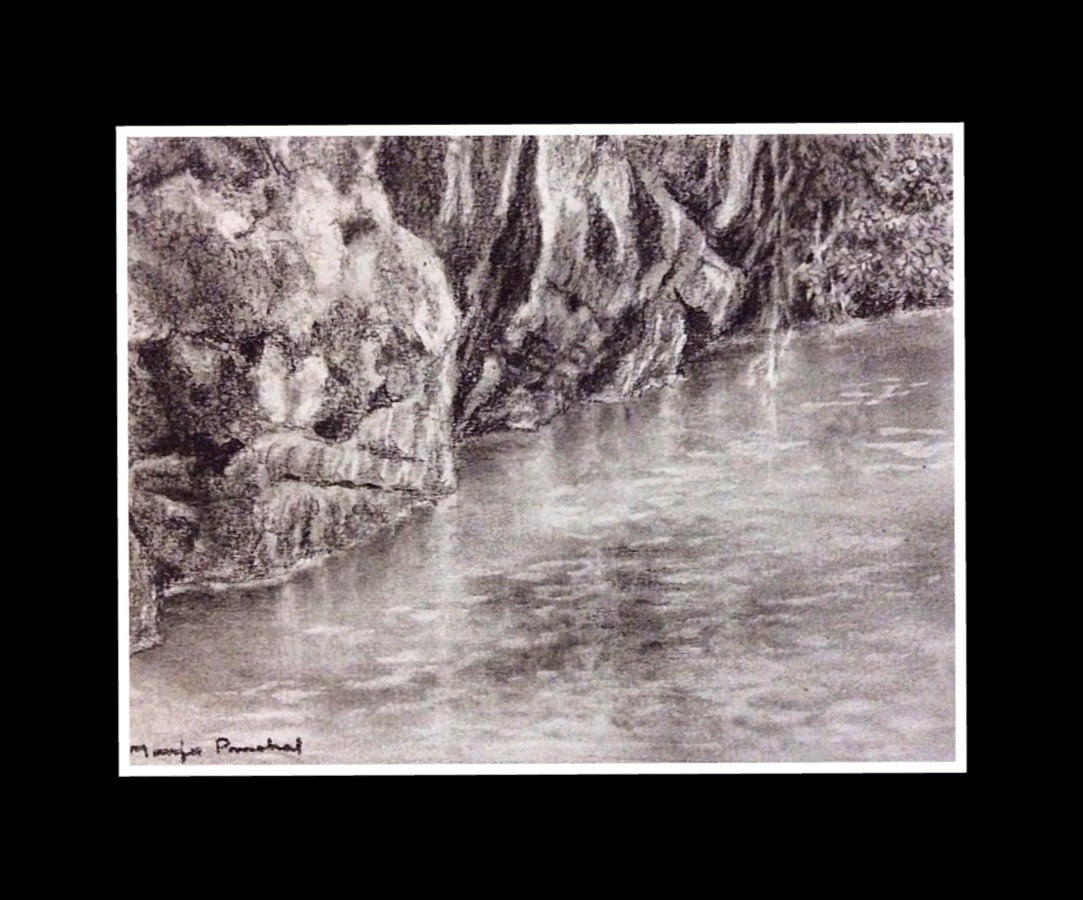 Charcoal painting of rocks, water and reflections by Manju Panchal