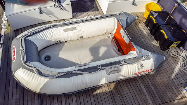 "Photo of the ""new"" dinghy on Ravensdale's aft deck"