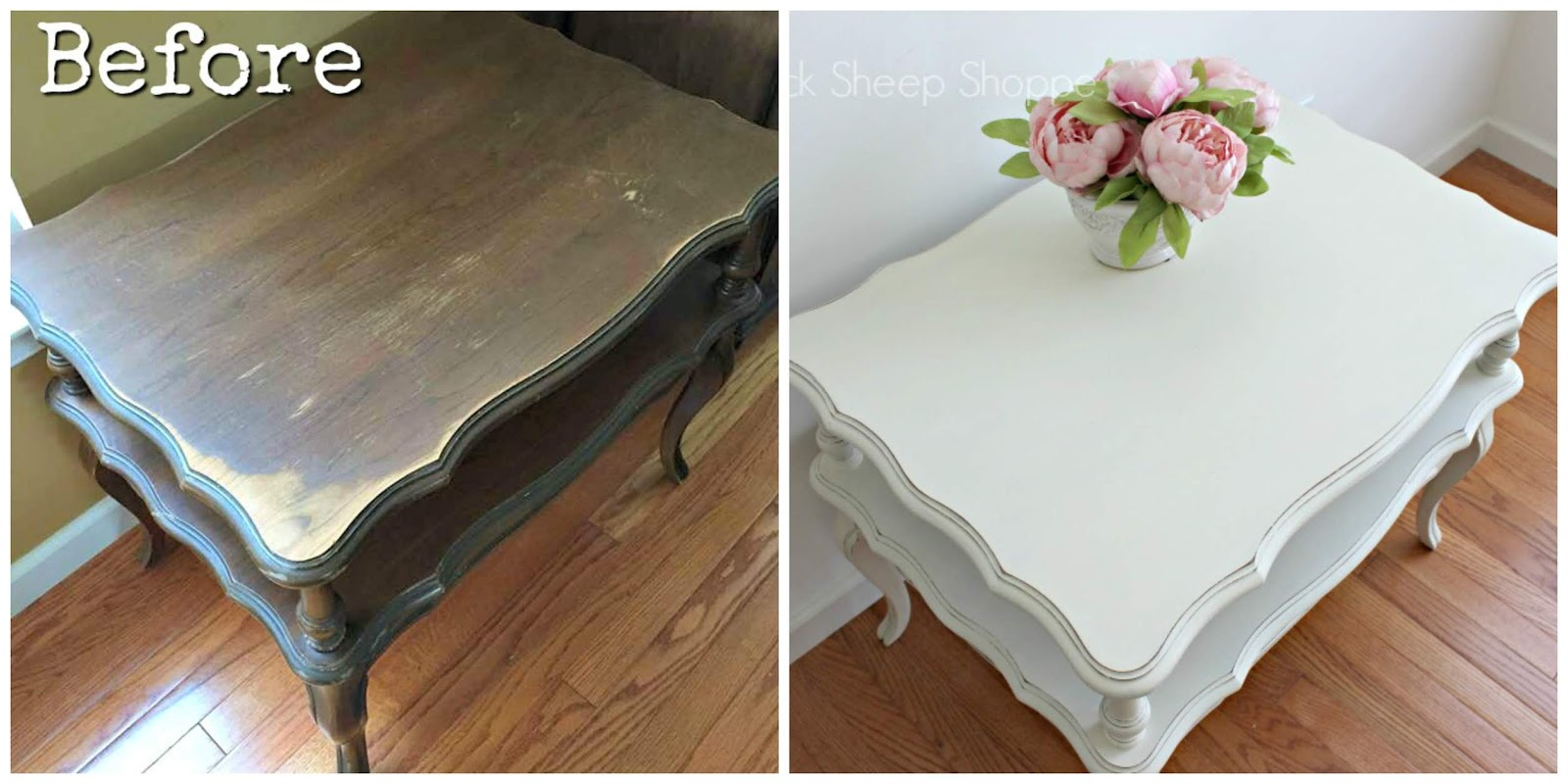End table before and after. Painted in Old White Chalk Paint.