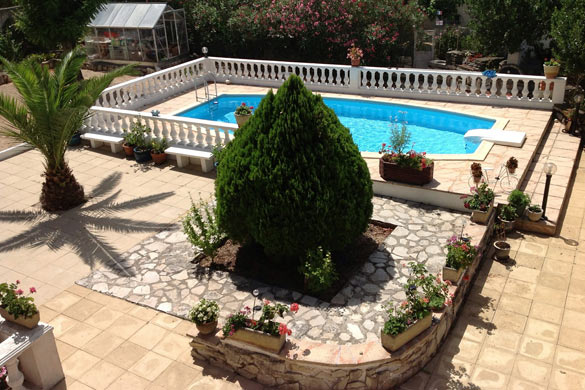 Hardscape and landscape backyard design with pool
