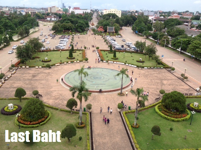 view of the fountains and gardens of Patuxai Park in Vientiane, Laos