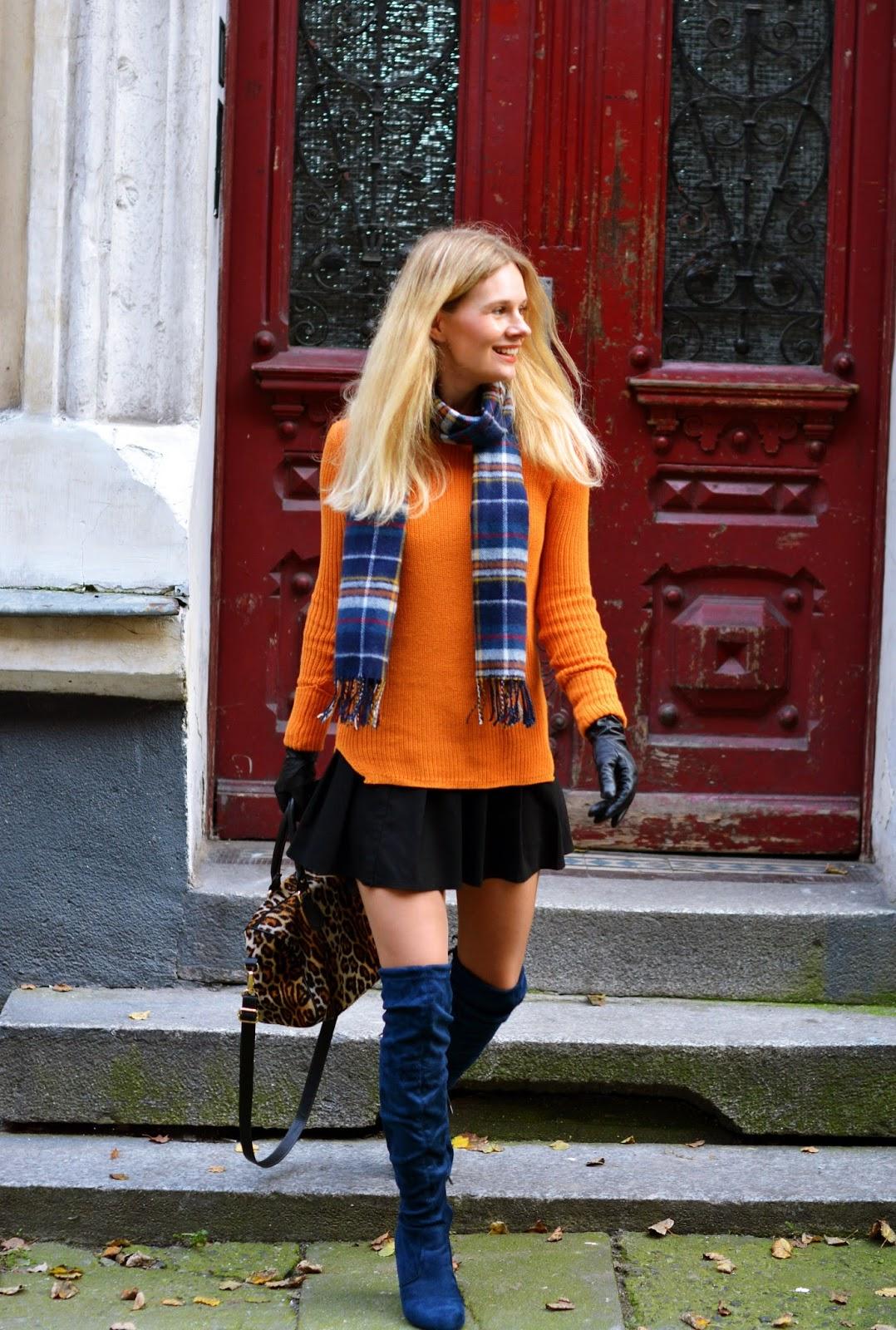 jesień, pomarańcz, analiza kolorystyczna, sweter, dotykowe skórzane rękawiczki, blog, stylizacja, look, poznan