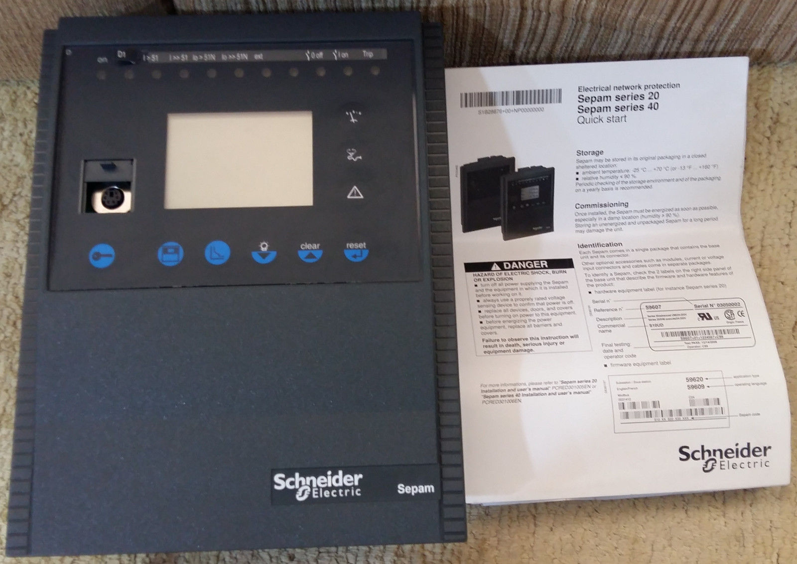 SCHNEIDER ELECTRIC SEPAM 59604 SERIES 40 S10 MD XXX JXX XNT