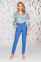 Pantaloni PrettyGirl albastri eleganti cu un croi drept