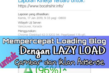 Cara Memasang Lazy Load Untuk Gambar dan Lazy Load Untuk Iklan Adsense