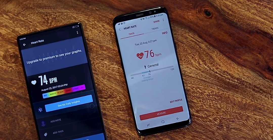 Instant Heart Rate Monitor app, vs Samsung Galaxy S8 Built-in heart rate monitor