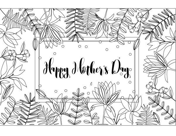 Beautiful floral happy mother's day coloring page