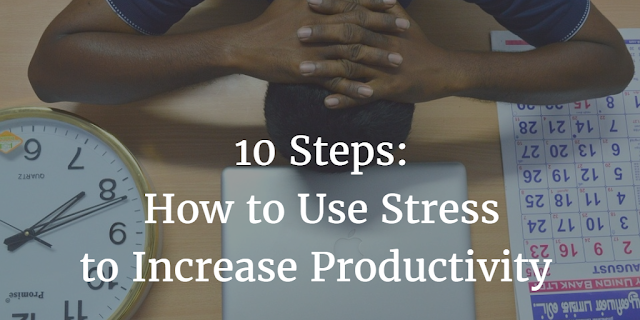 Header image from the article 10 Steps How To Use Stress To Increase Your Productivity, with a men stressed at the office with a calendar and clock giving the idea that a deadline is approaching. He needs to learn to use success to his advantage.