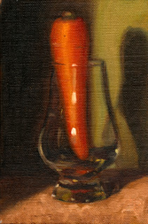 Oil painting of a carrot placed upright in a Glencairn whisky glass.