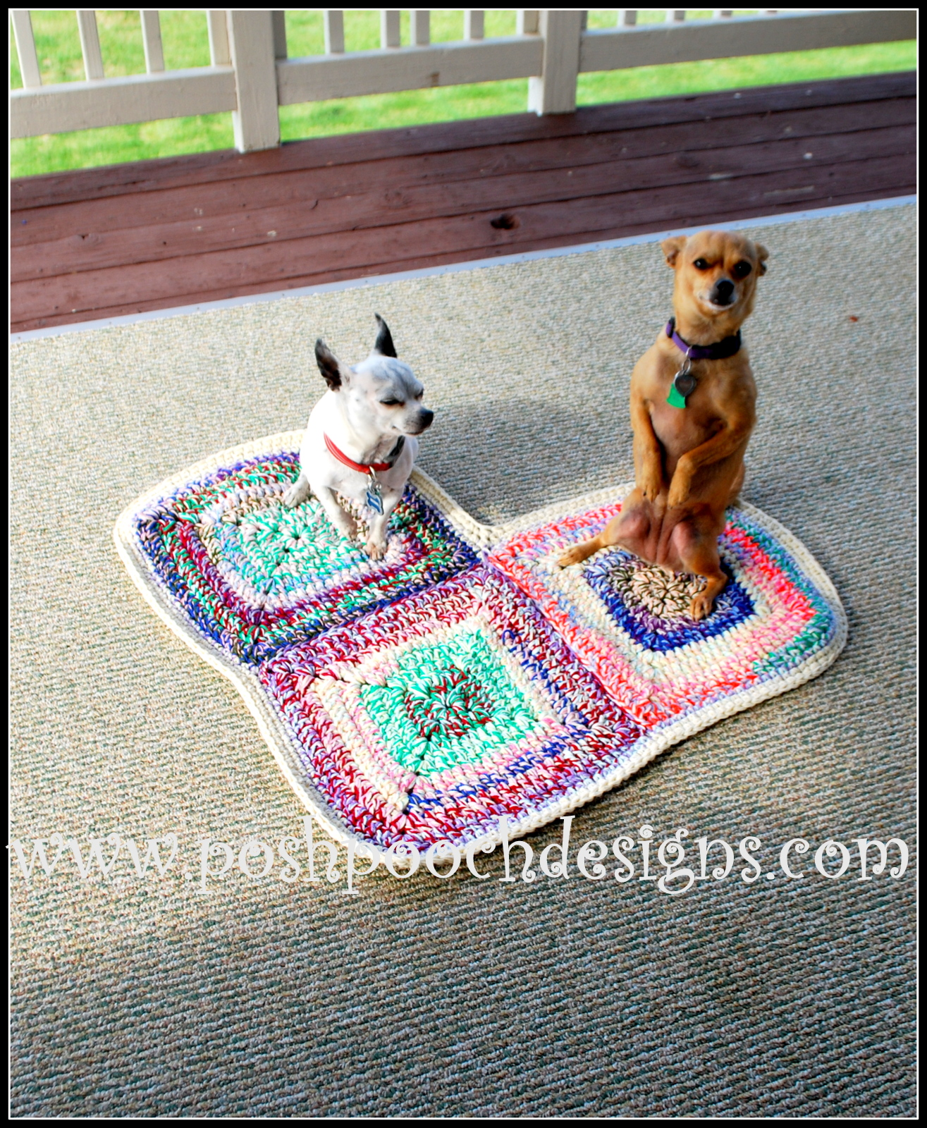 Posh Pooch Designs Dog Clothes Heart Shaped Dog Rug Free Crochet