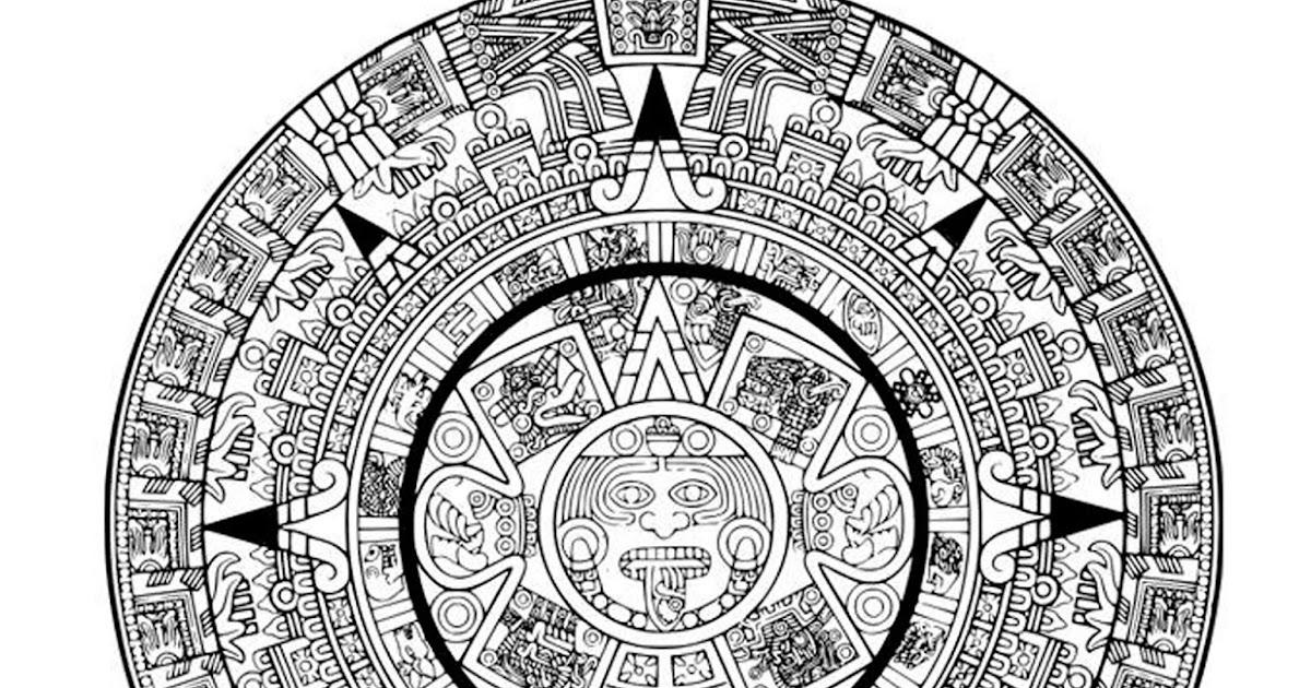 Pinto Dibujos: Calendario Azteca para colorear