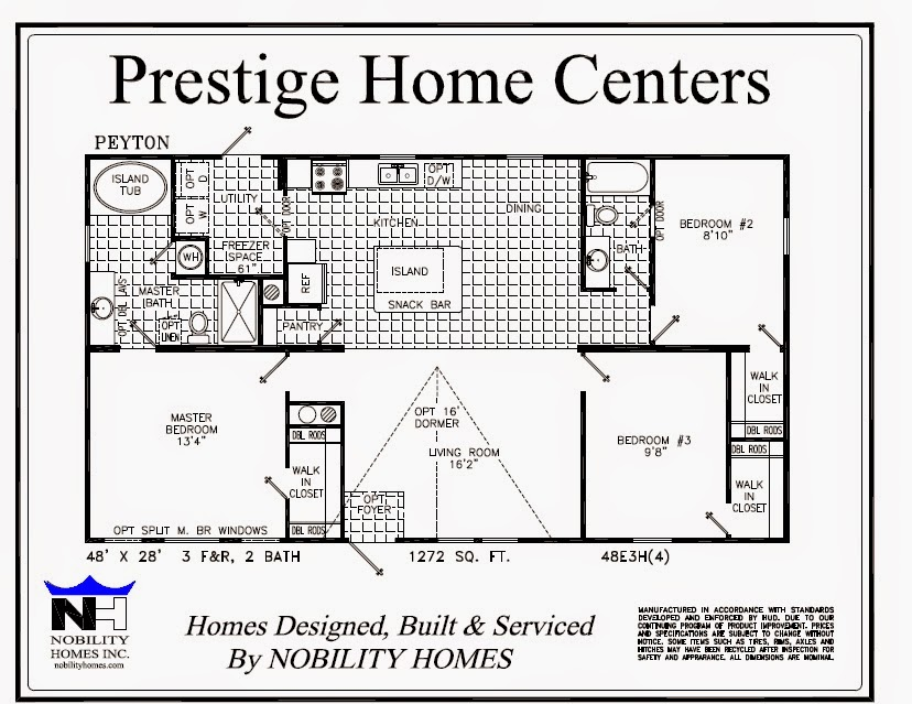 Peyton 3 Bedroom 2 Bath 1272 Square Feet Prestige Home