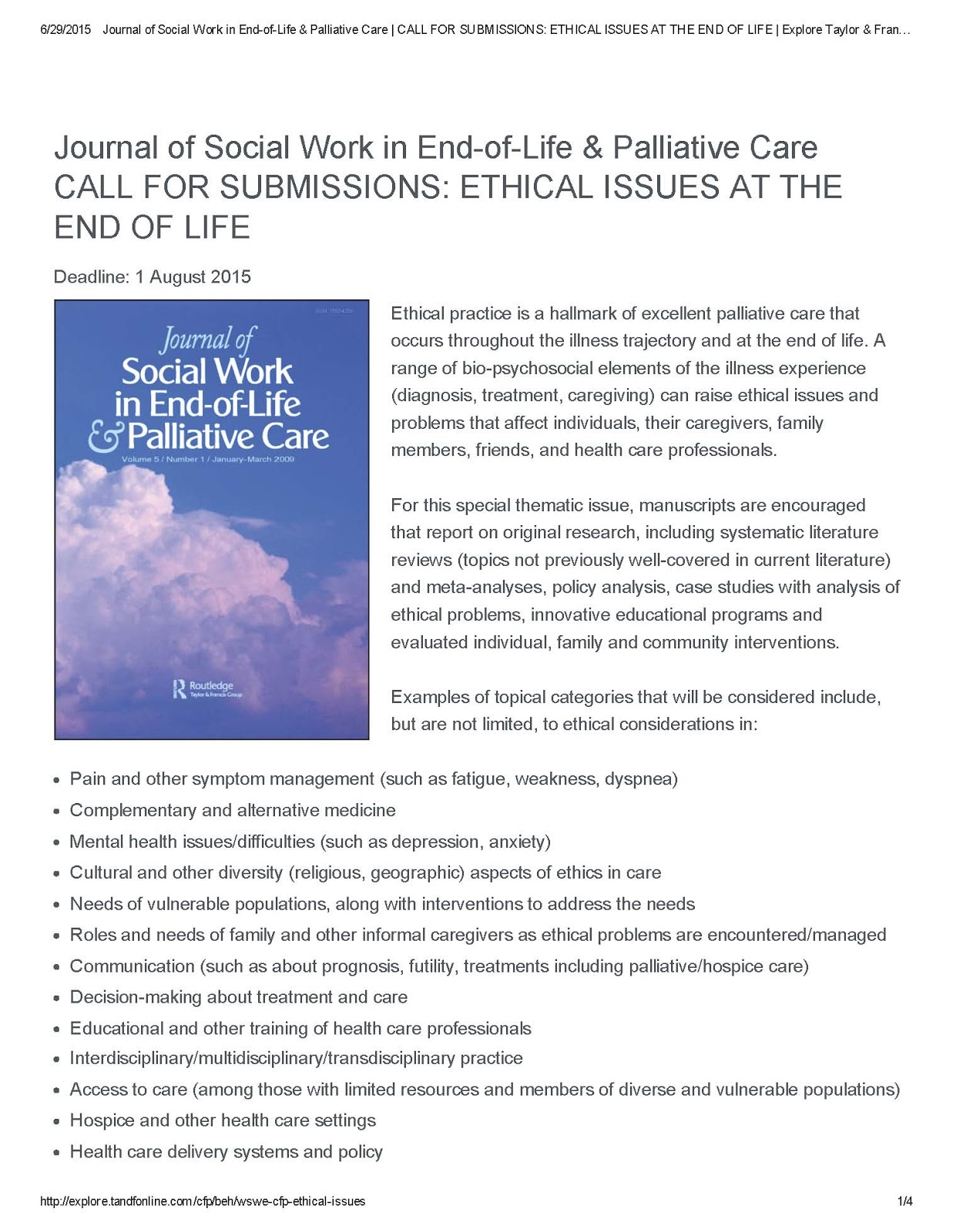 Ethical Issues at the End of Life – CFP | Bioethics Research Library