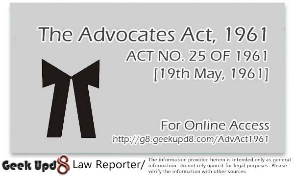 THE ADVOCATES ACT, 1961