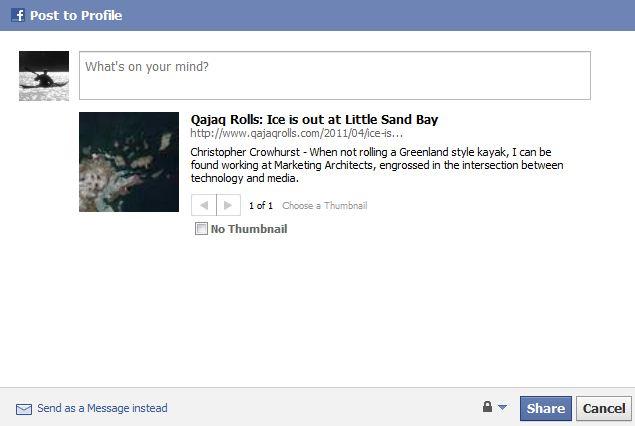 Facebook link post preview text | Qajaq Rolls