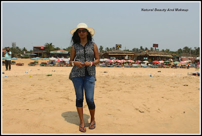 anamika at Baga Beach, North Goa