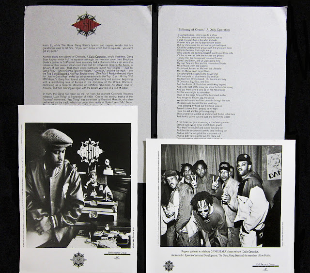 Gang Starr Daily Operation Press Kit 1992 DJ Premier Guru