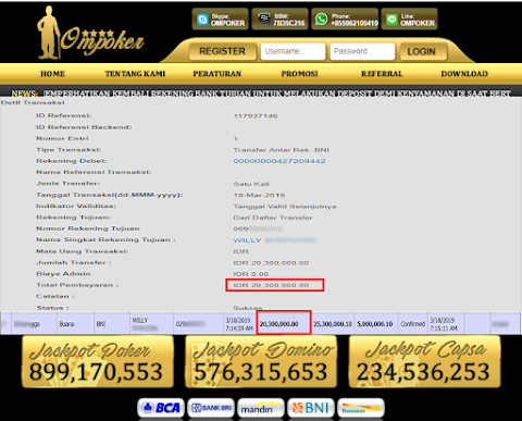 Selamat Kepada Member Setia Ompoker WD Rp 20.300.000