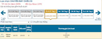 vé máy bay tết đi Quy Nhơn hãng Vietnam Airlines