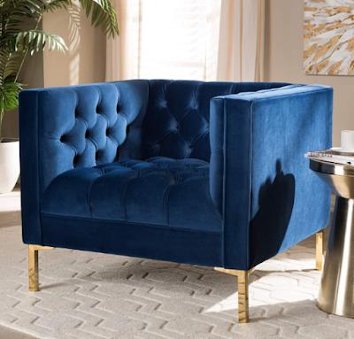 Baxton Studio Zanetta Luxe and Beauty Navy Velvet Chair