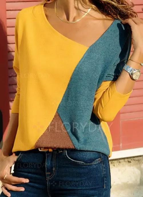 Color Block Casual Oblique Neckline Long Sleeve Blouses,women's long sleeve satin blouses,long sleeve,blouse,long sleeve blouses for work,long sleeve blouse womens,long sleeve blouse designs,ladies blouses,short sleeve blouses print,blouses,floral blouses,diy puffy sleeve blouse,designer sleeves for blouse,long sleeve fashion blouses and shirts ideas 2019,sleeves designs for blouse,fish cut sleeves for blouse,sleeves cutting,blouses for women,women's blouses