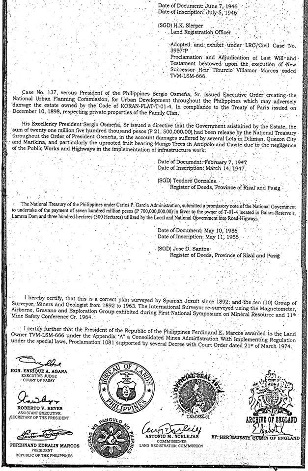 Hrh tiburcio villamor marcos tallano tagean iv on august 28 2017 gold trust certificate of ownership january 3 1949 publicscrutiny Images