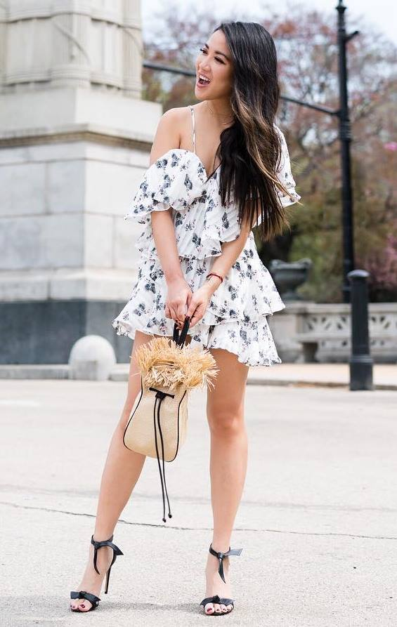 beautiful outfit idea for this summer : floral dress + bag + black heels