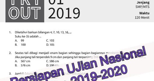 Latihan Soal Try Out Kelas 9 Matematika Edisi 2019 2020 Info Pendidikan Terbaru