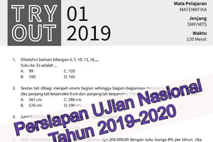 Latihan soal try out Kelas 9 Matematika edisi 2019-2020