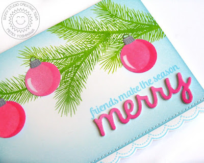 Sunny Studio Stamps: Holiday Style & Merry Sentiments Card by Mendi Yoshikawa