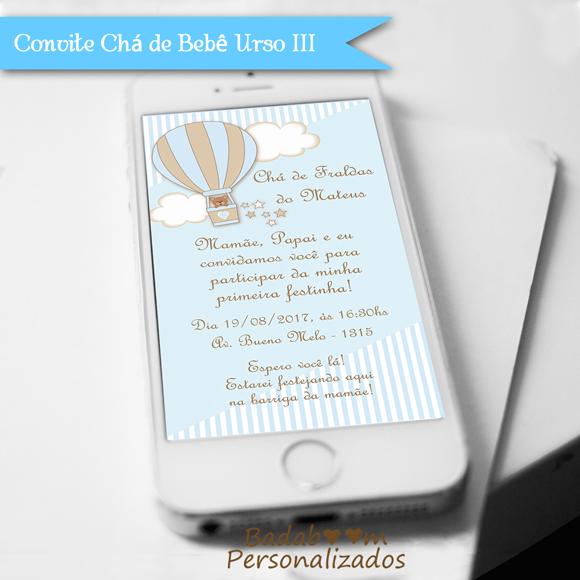 Convite Digital para Whatsapp Chá de Bebê ou Fralda Balão Urso