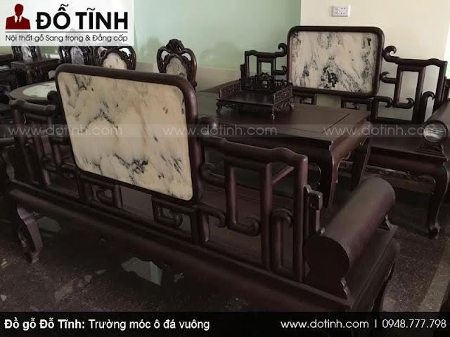 Bộ trường móc đá ô vuông - Mẫu bàn ghế trường kỷ cổ đẹp 2017