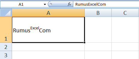 Contoh Subscript atau Superscript Excel
